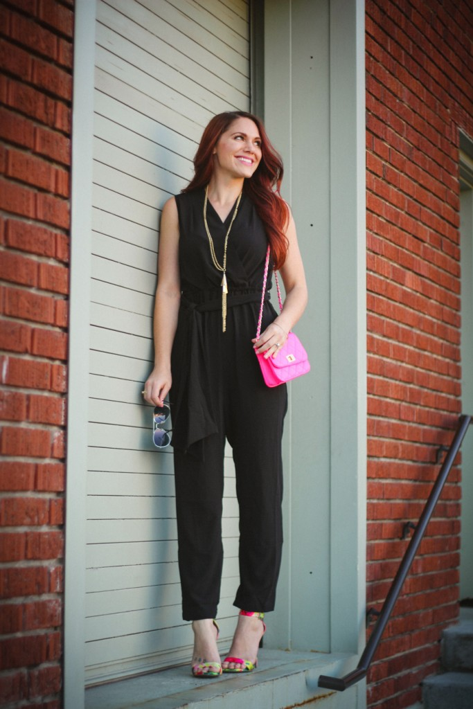 black jumpsuit with floral heels and neon details