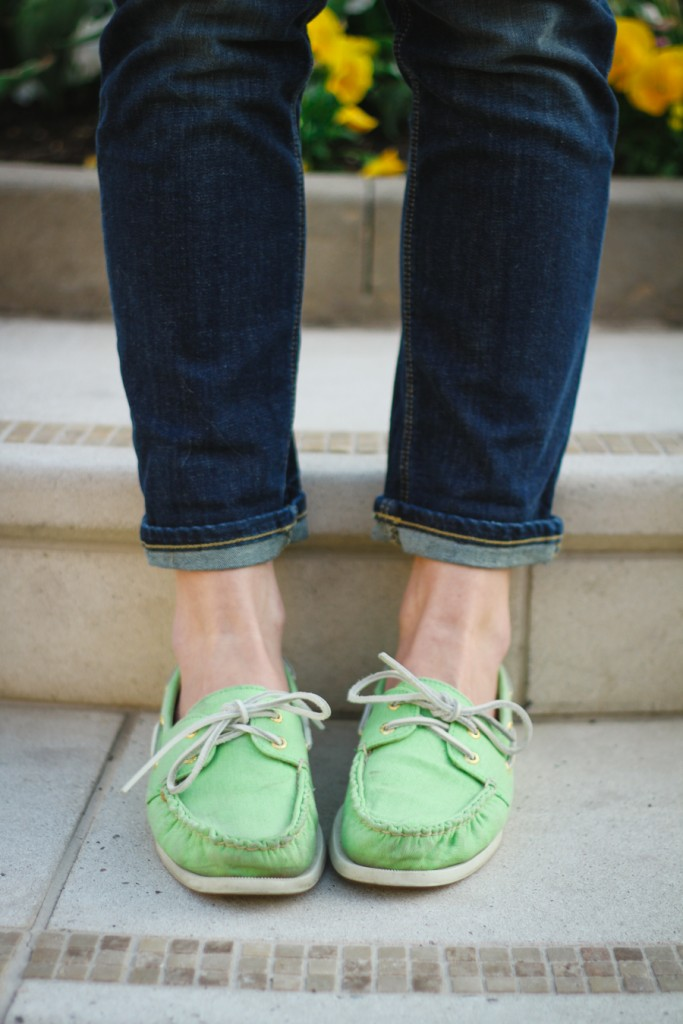 bright green Sperry's