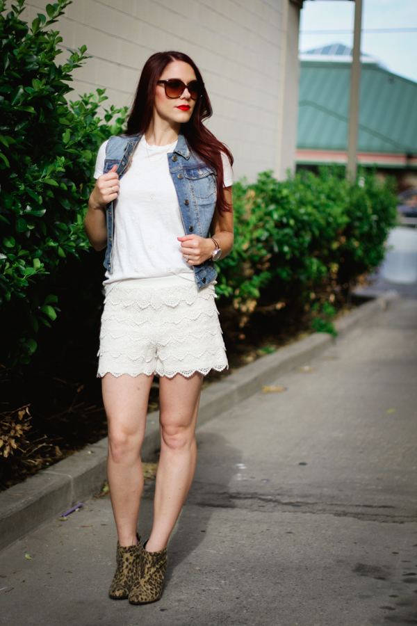 lace short and denim vest