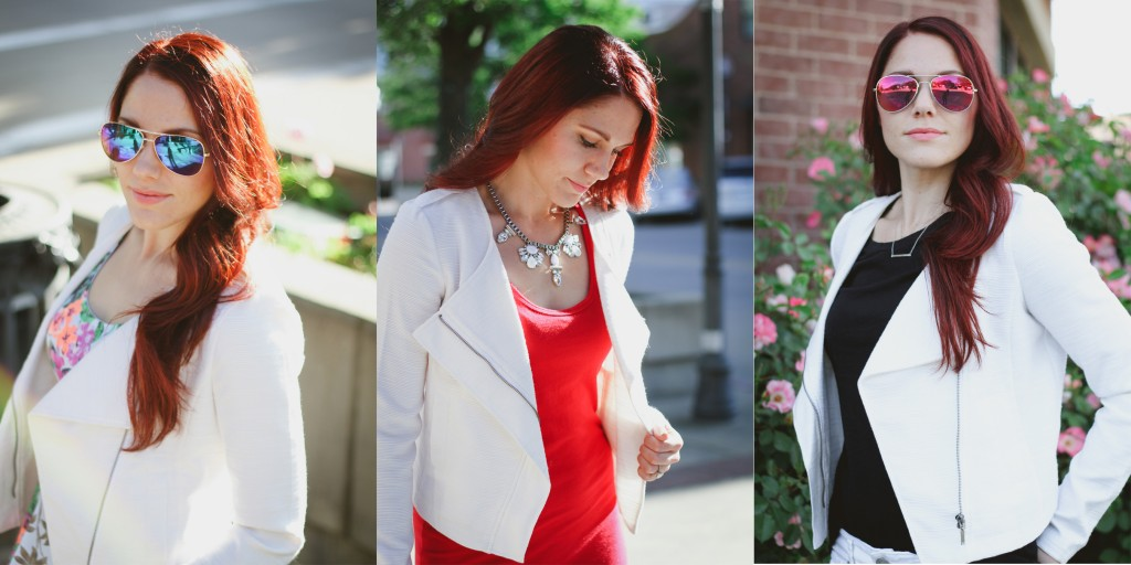 white moto jacket, worn 3 ways