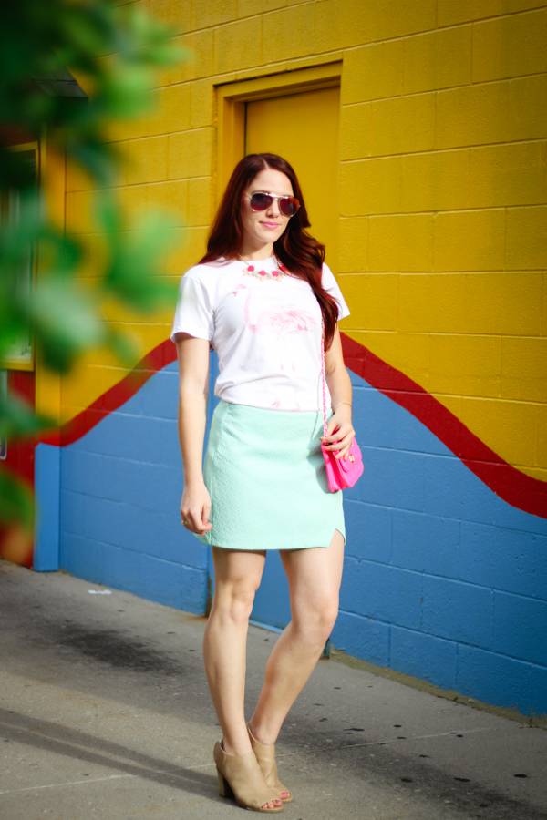 flamingo tee and mint skirt