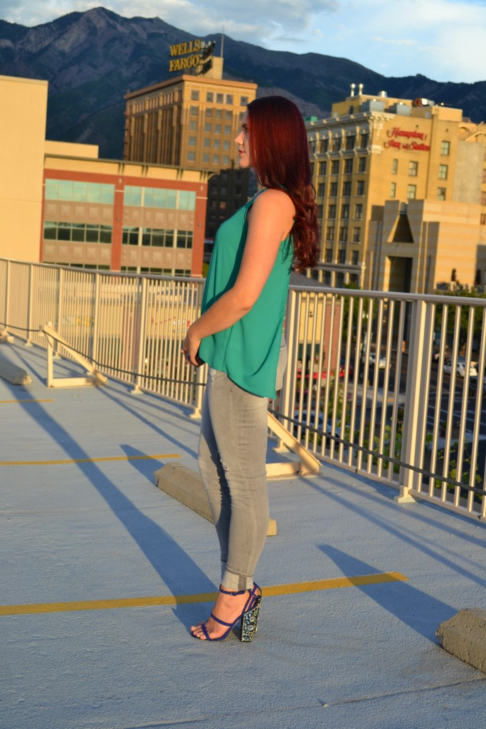summer outfit with jewel tones