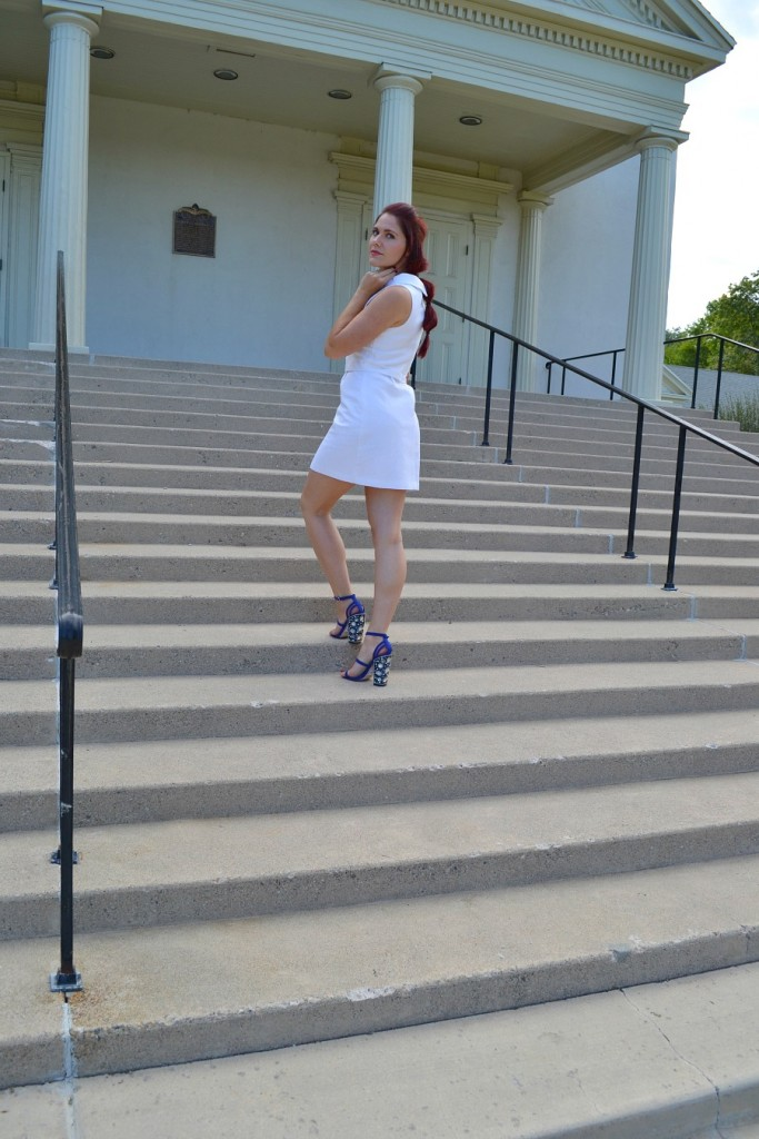 little white dress and jeweled sandals