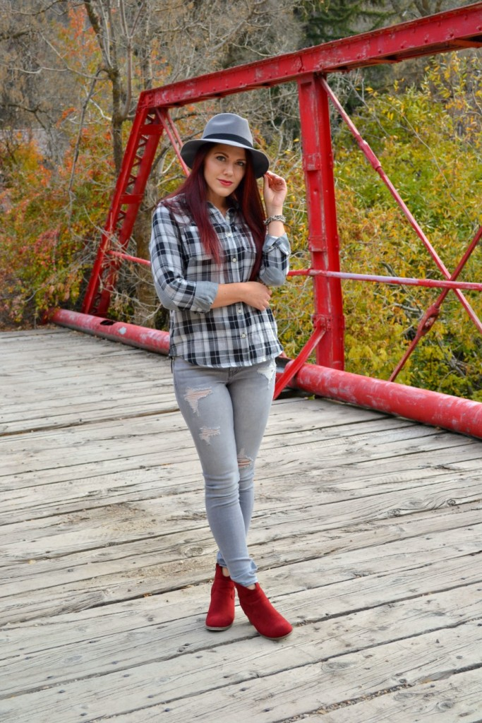 gray plaid shirt with red booties