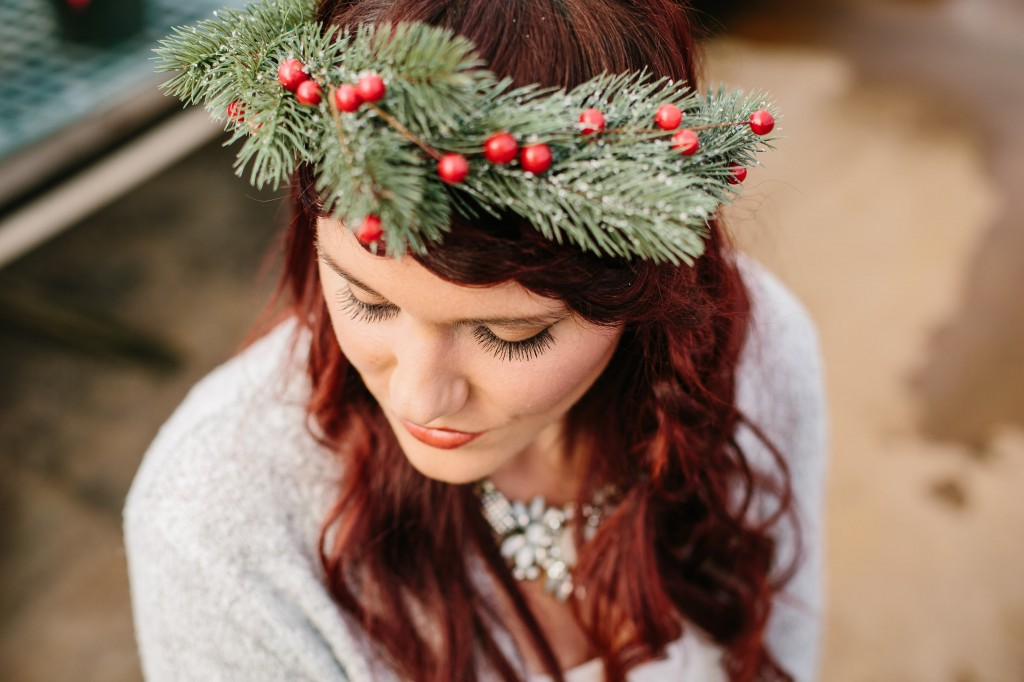 winter braid & evergreen flower crown
