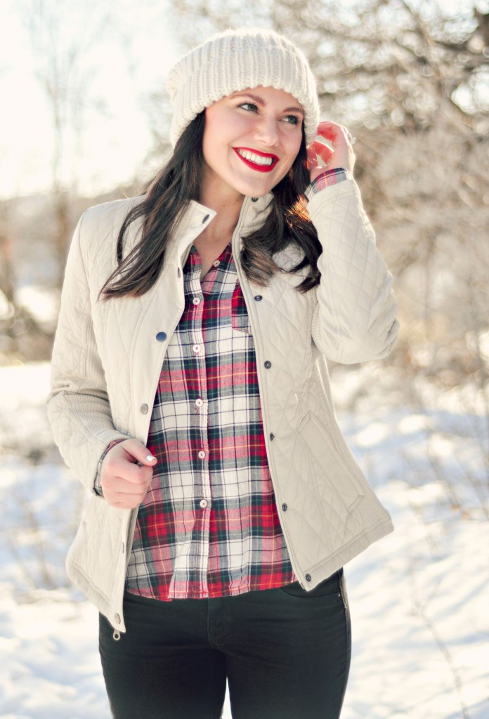 snow day outfit with plaid shirt