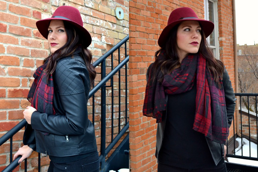 black-berry-fedora-faux leather jacket