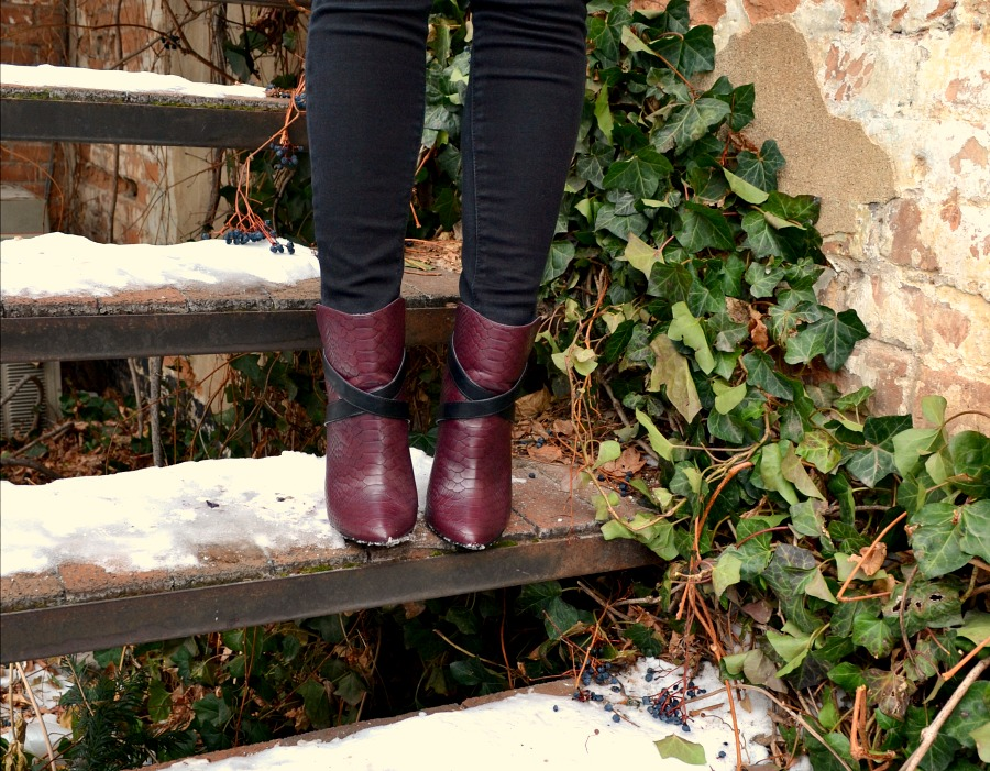 black & berry booties from Express