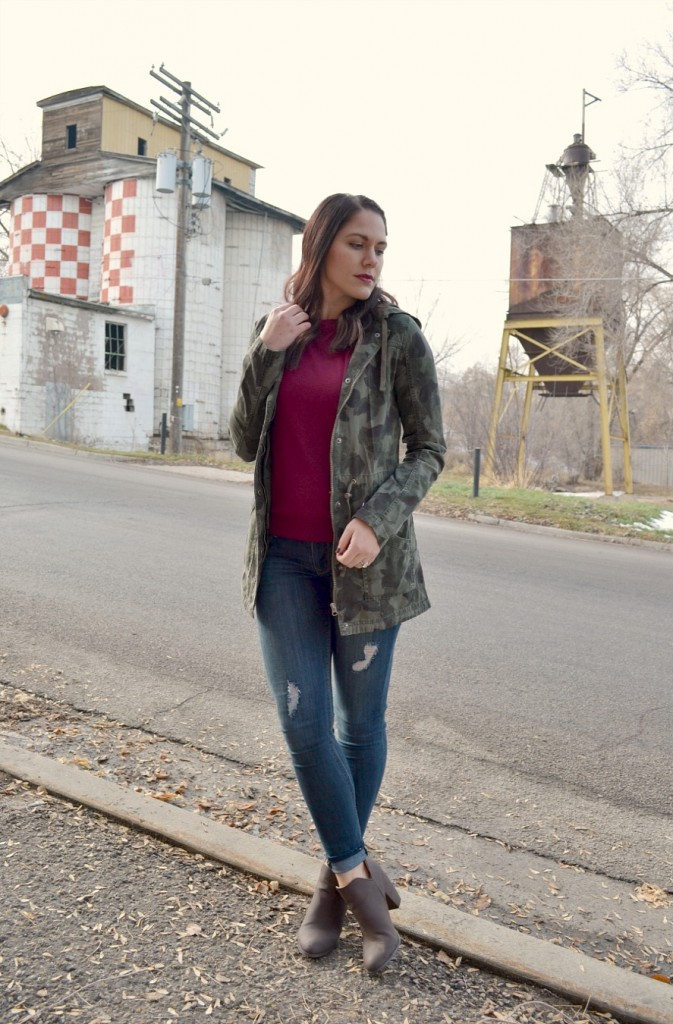 perfect winter outfit-camo jacket-burgundy sweater