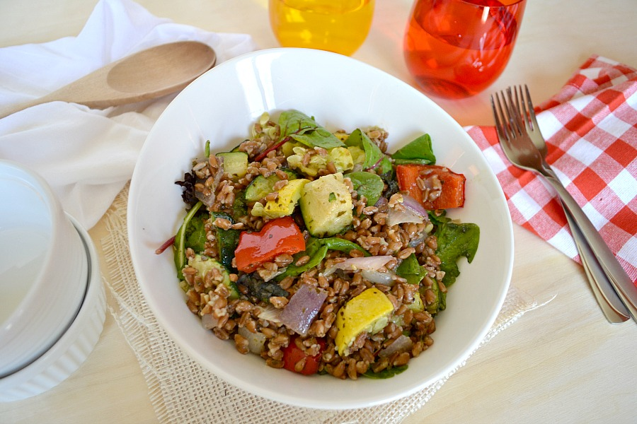 roasted vegetable farro salad- copycat Disney recipe