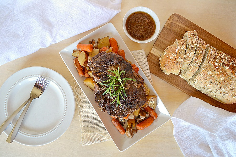 slow cooker pot roast made with onion soup mix- super easy meal