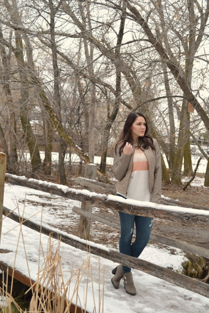 winter outfit with faux leather jacket and booties