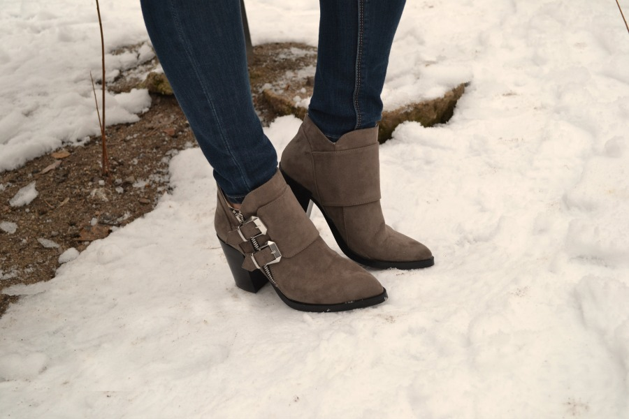 taupe faux leather jacket and booties from Forever 21