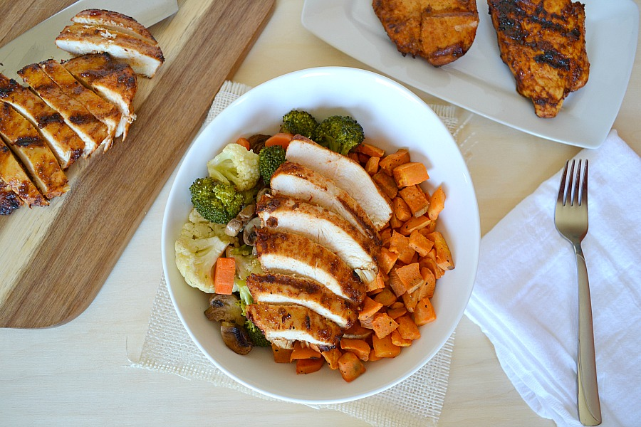 "super healthy, quick, easy honey chipotle chicken and roasted vegetable ""power"" bowl"
