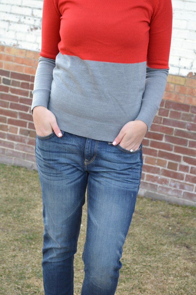 red & gray color block sweater from Forever 21