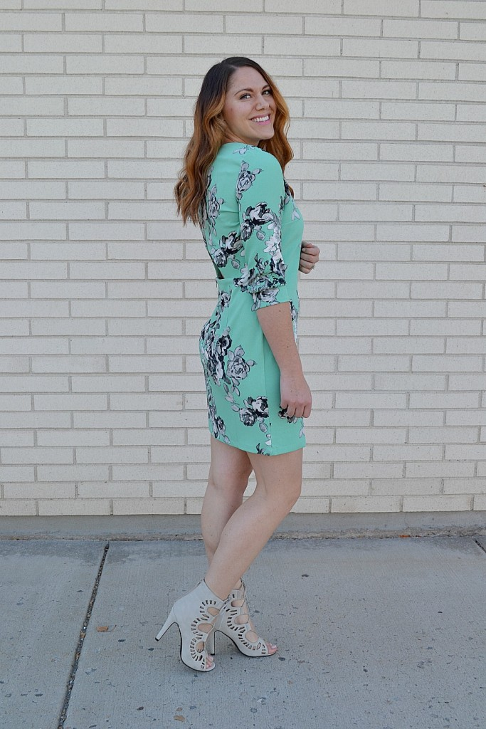 mint dress from Asos and gray lace-up heels
