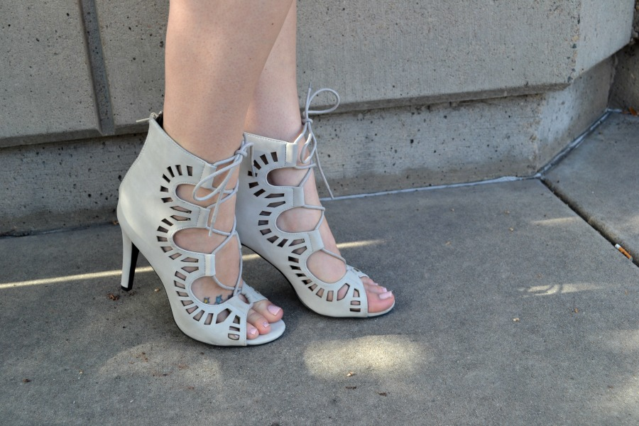 gray lace-up heels