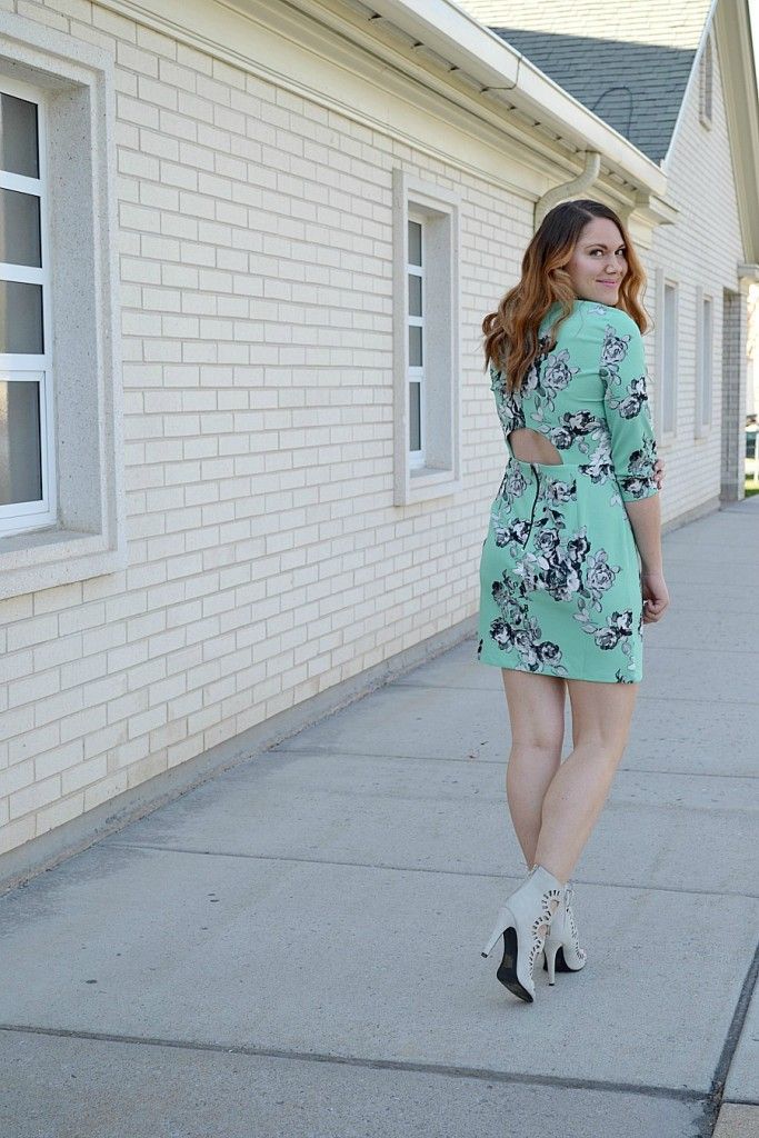 mint floral dress from Asos with gray lace-up heels