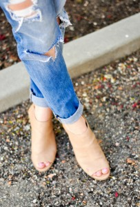 destroyed jeans and nude booties