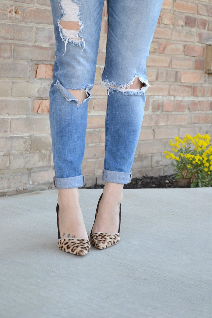 destroyed denim and leopard heels