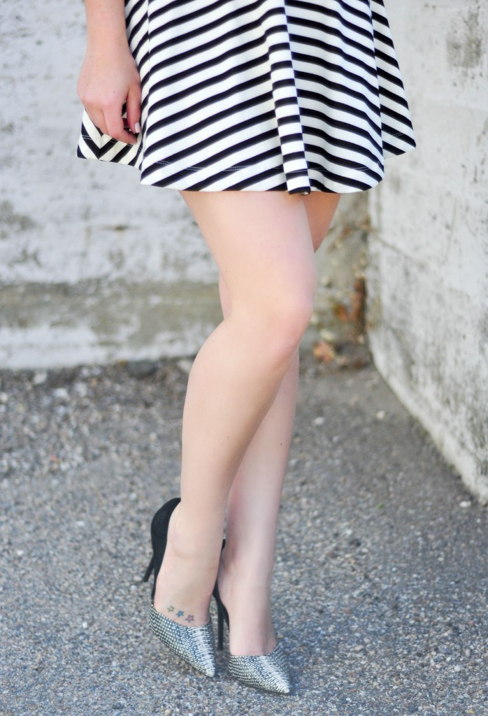 black and white dress and heels