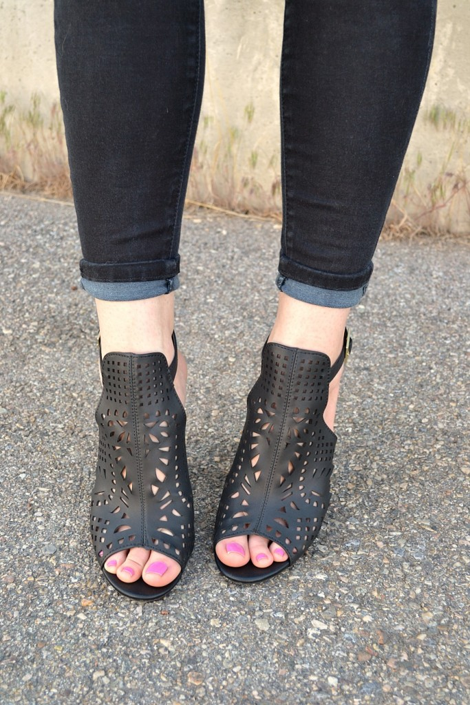 laser cut black booties