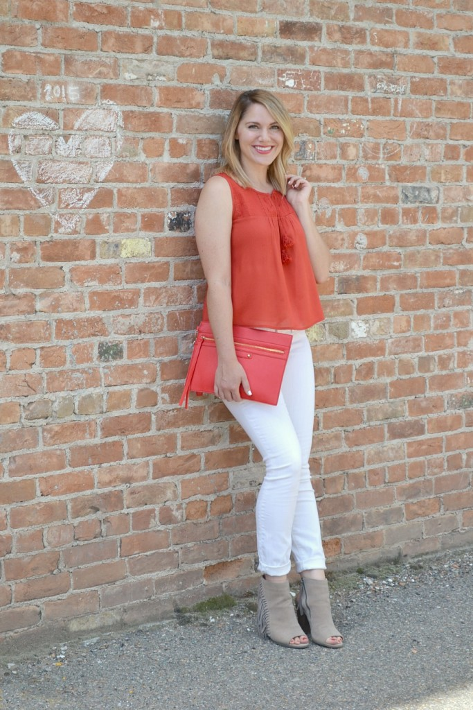 red tank, white jeans, booties