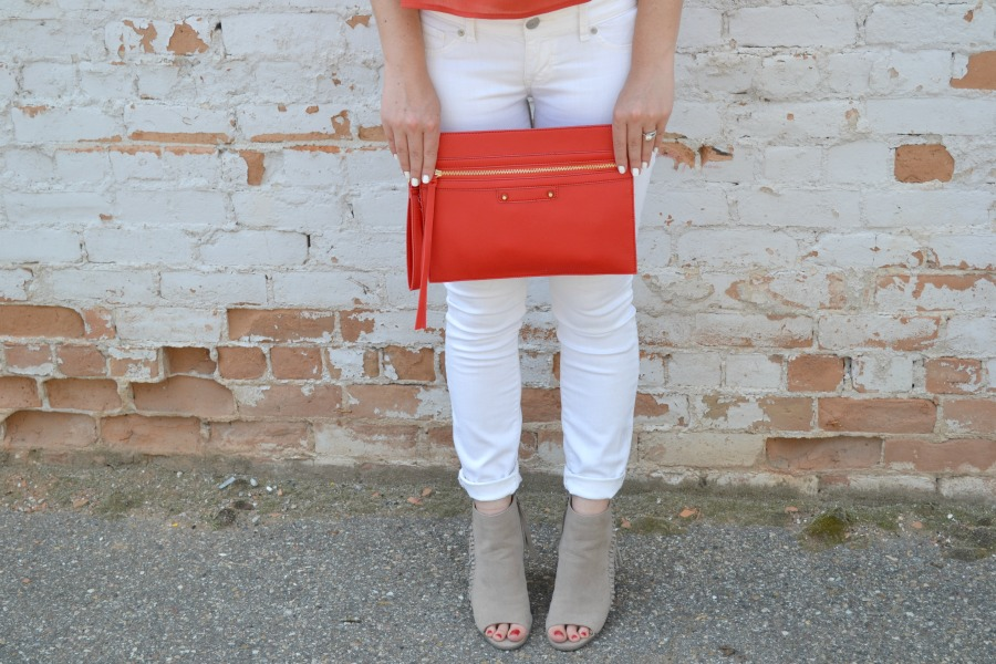 red clutch, fringe booties