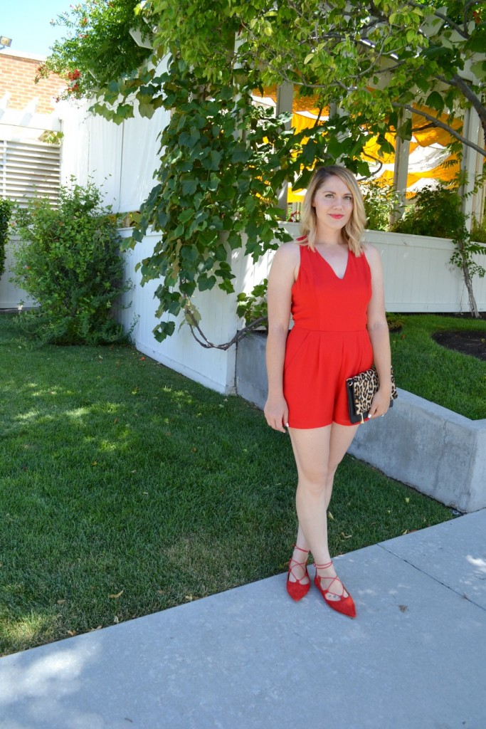 red romper and lace up flats