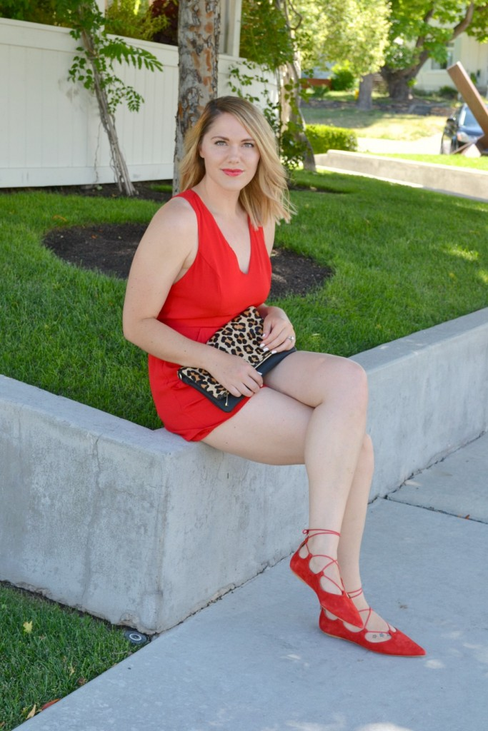 red and leopard outfit