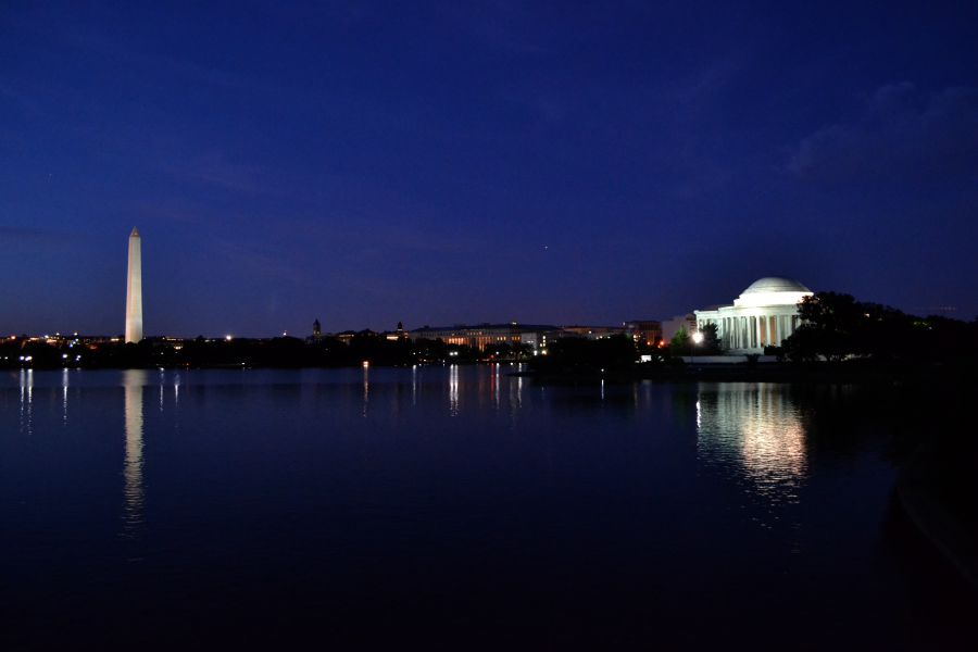 Washington Monument and Jefferson Memorial at night