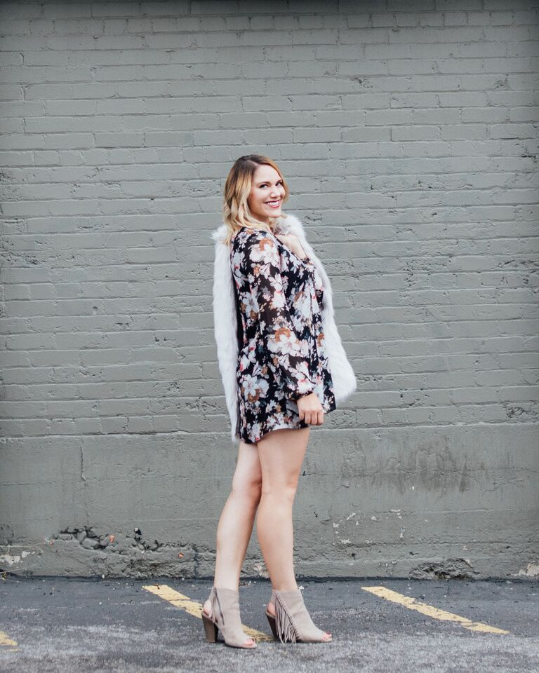 fall floral dress and faux fur vest