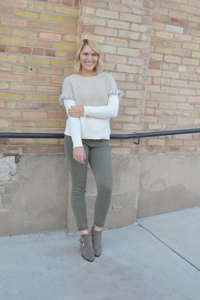 fringe sweater and olive jeans // thefabblog.com