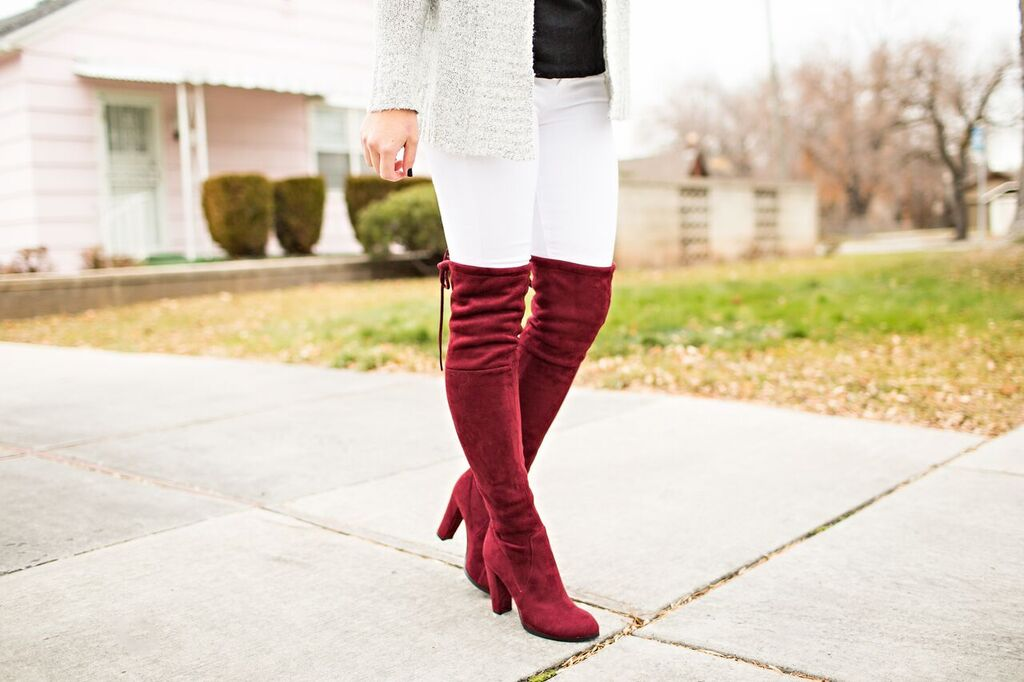 Bordeaux over the knee boot // www.thefabblog.com