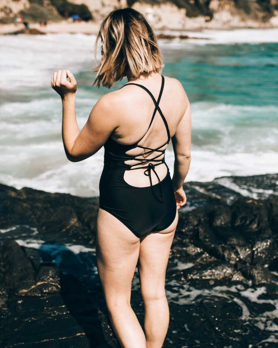 strappy black swimsuit // www.thefabblog.com