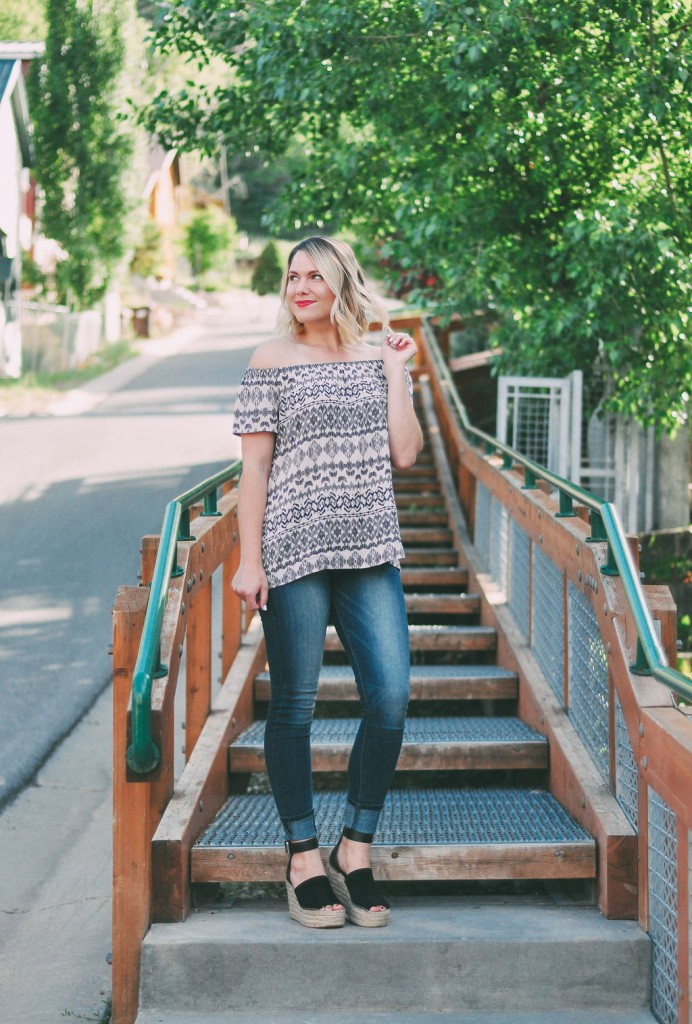 The hottest summer must-haves: off the shoulder top and espadrille wedges // www.thefabblog.com