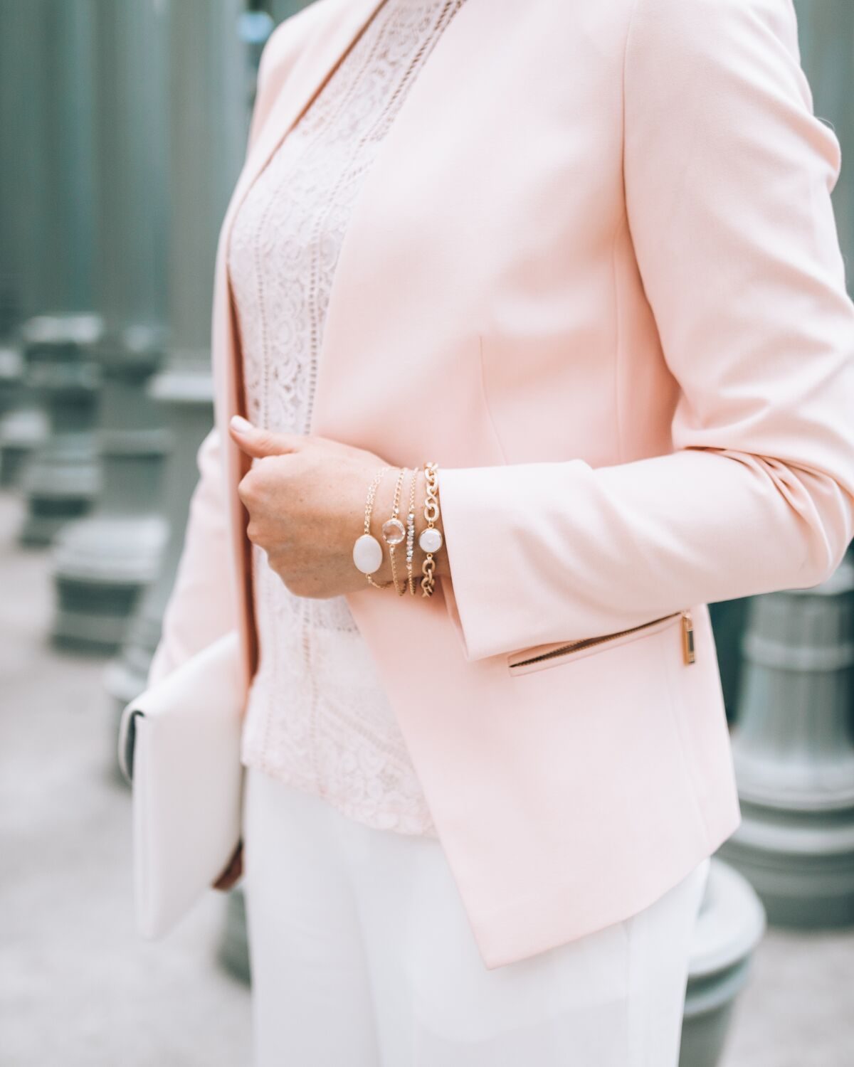 "blush pink blazer and The Shine Project ""Brooke"" Stack // www.thefabblog.com"