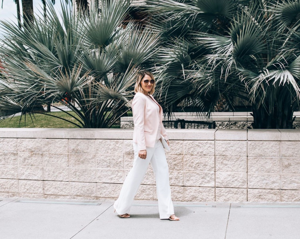 pink blazer and white wide leg pants // www.thefabblog.com