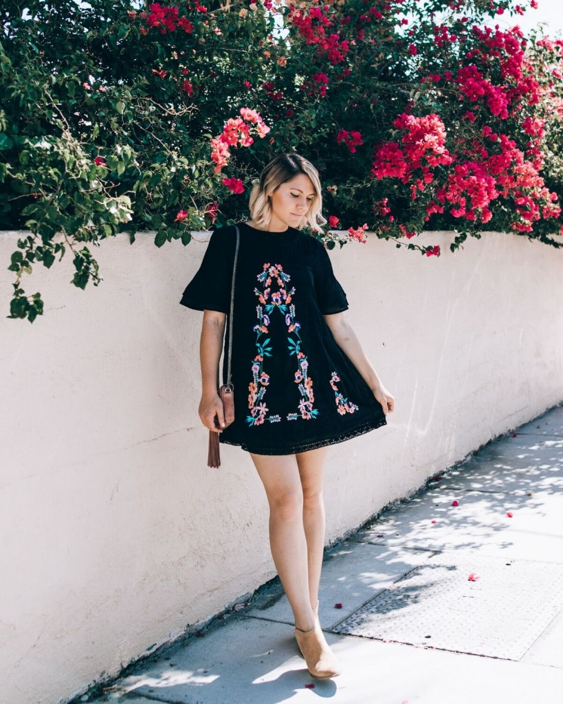 Free People embroidered dress in Palm Springs // www.thefabblog.com