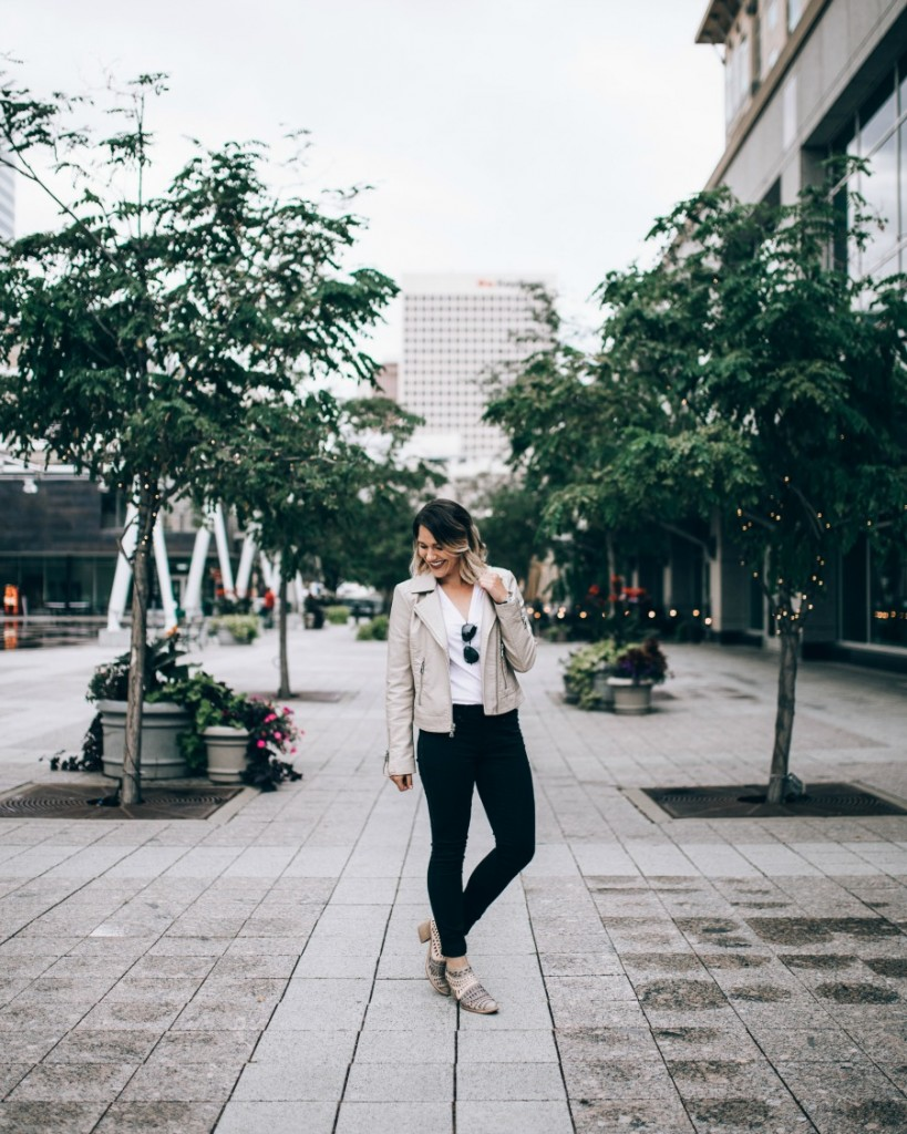 essential fall outfit: beige leather moto jacket, jeans & booties // www.thefabblog.com