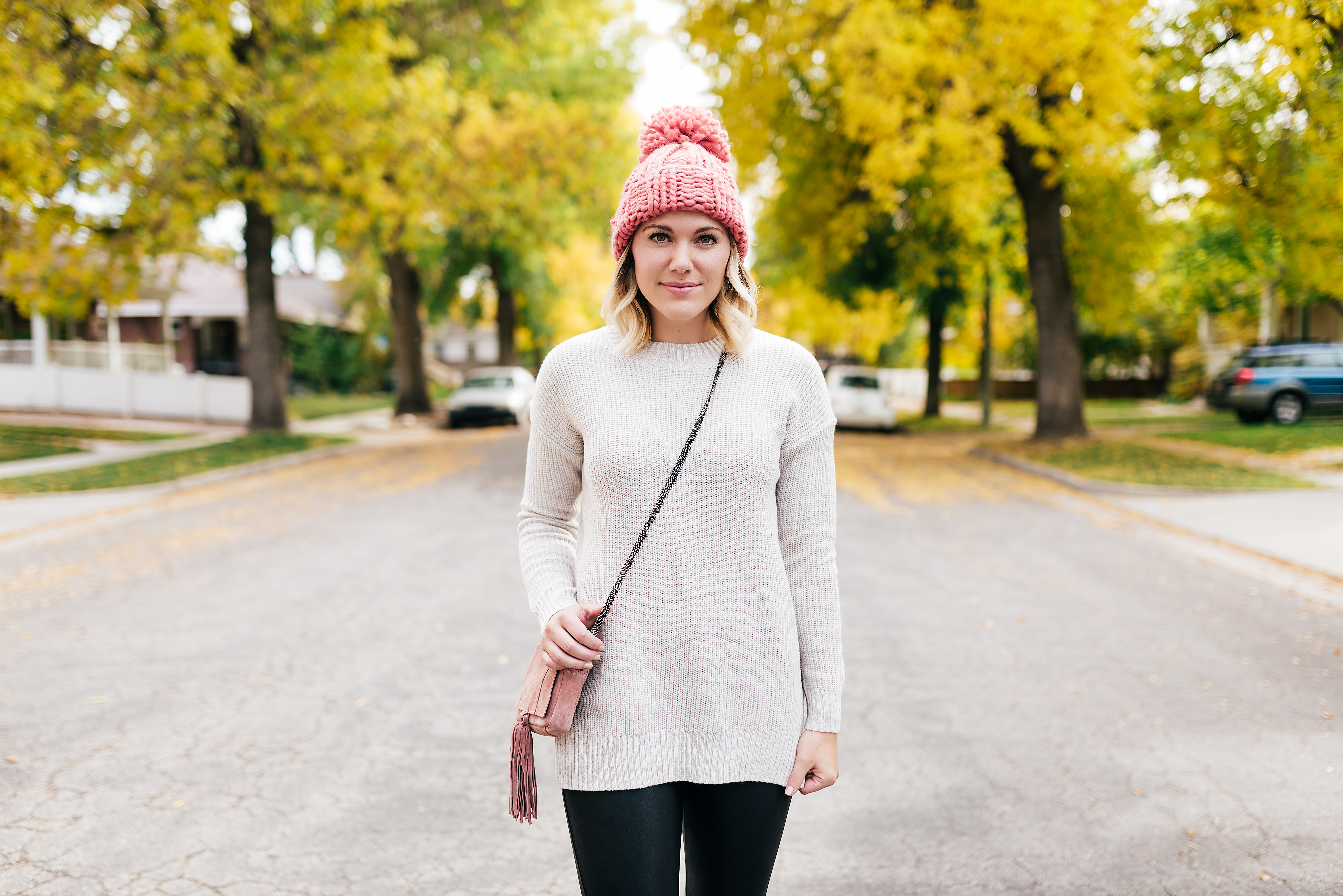 dusty rose beanie and sweater // www.thefabblog.com