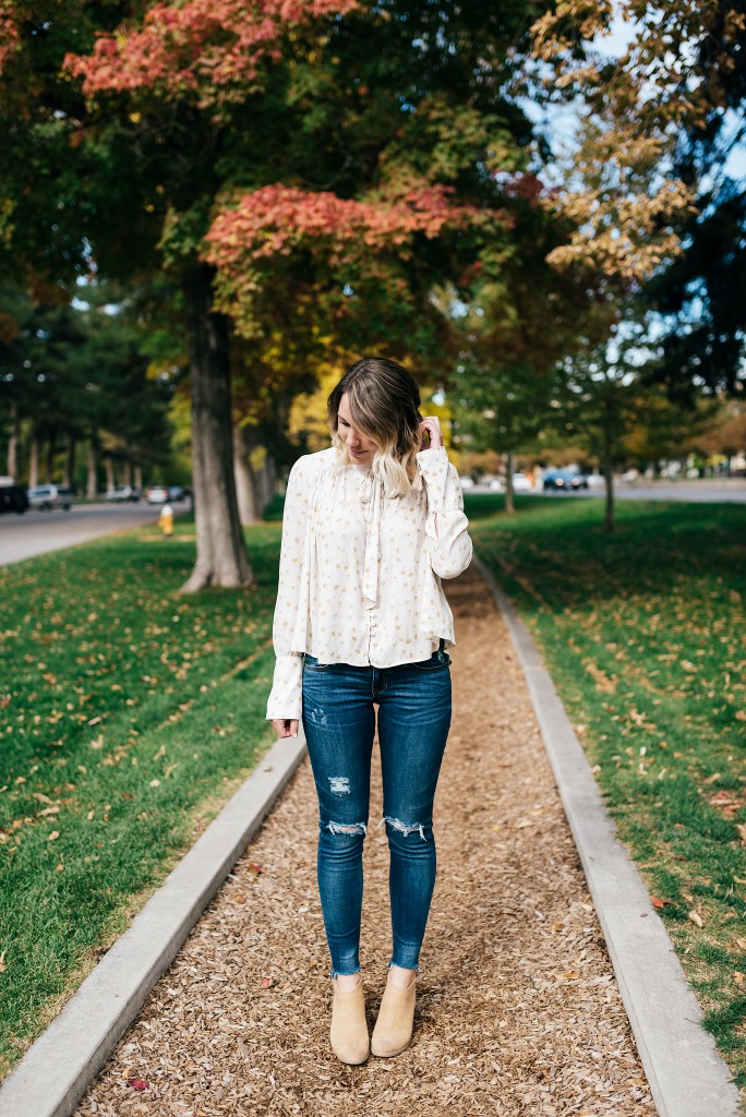 free people blouse & raw denim jeans // www.thefabblog.com
