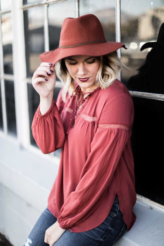 fall blouse and fedora // www.thefabblog.com
