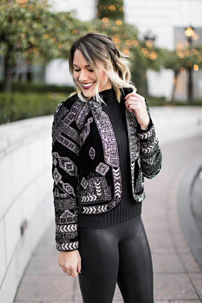 metallic embroidered jacket perfect for New Year's Eve // www.thefabblog.com