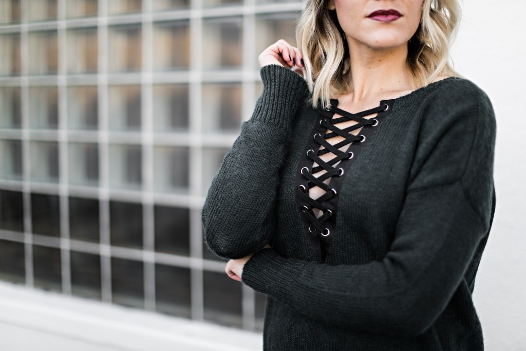 lace up sweater // www.thefabblog.com