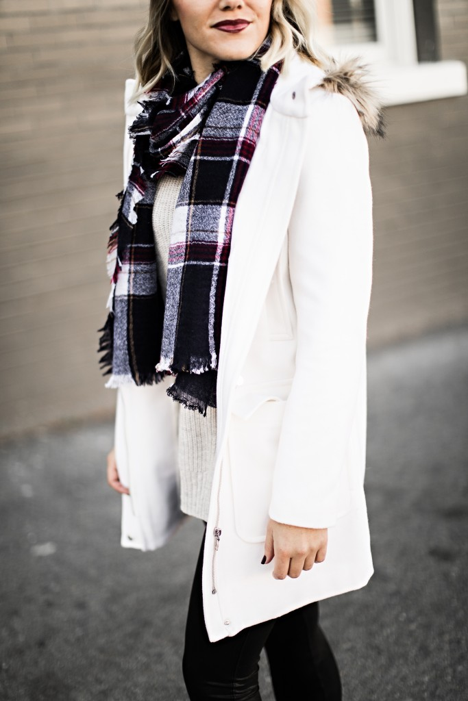 winter white coat and plaid scarf // www.thefabblog.com