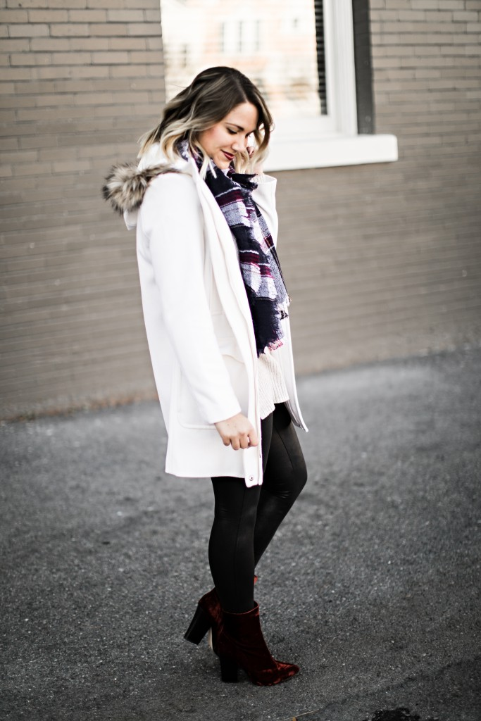 winter essentials: coat, scarf, sweater, leggings, booties // www.thefabblog.com