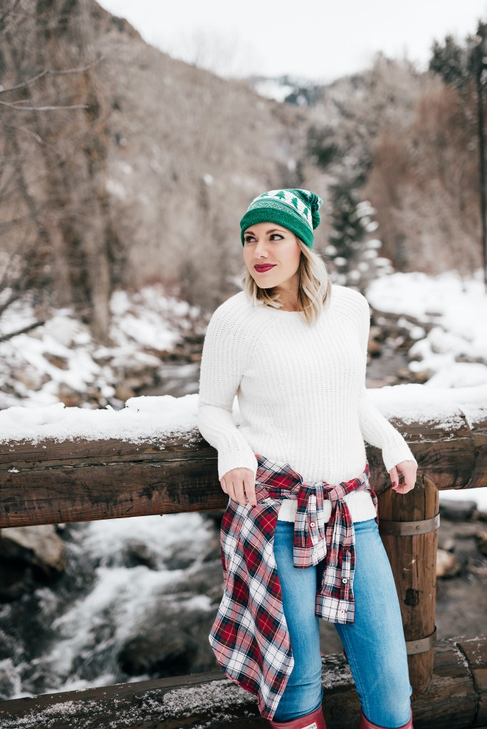 beanie, sweater and plaid shirt // www.thefabblog.com