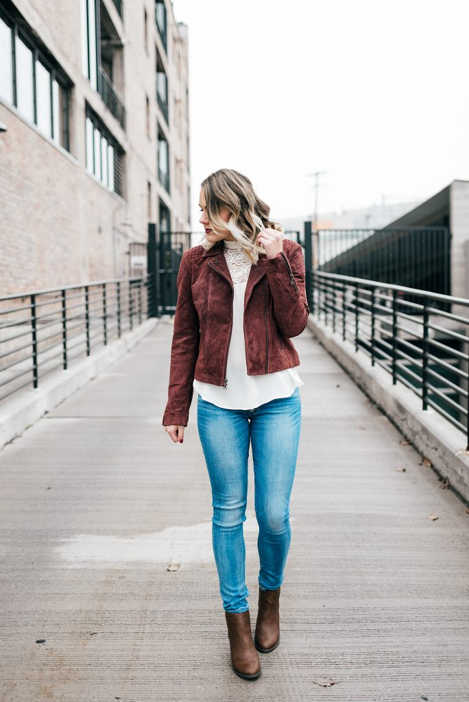 blouse, moto jacket and jeans // www.thefabblog.com