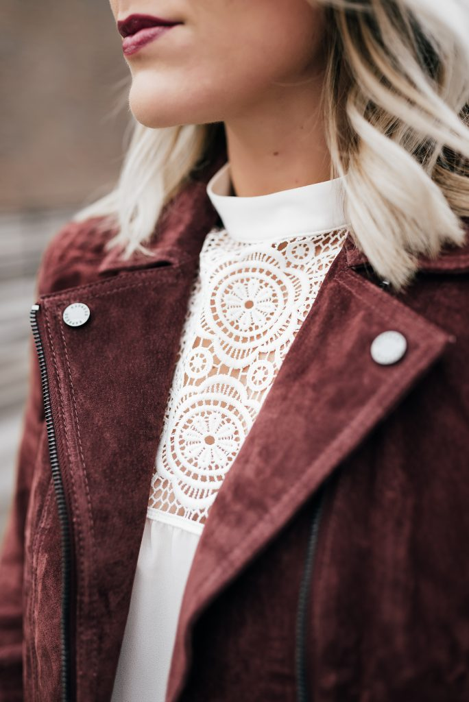lace blouse and burgundy moto jacket // www.thefabblog.com